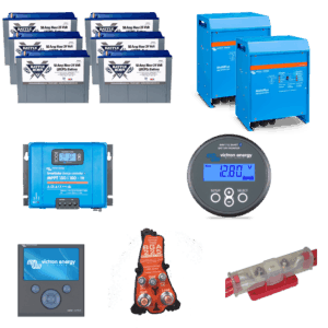 Pau Hana 300ah 24v lithium bundle. This Bundle Includes: 6 – Battle Born 50ah 24V Deep Cycle Battery 2 – Victron MultiPlus 3000W 24V Inverter Charger 1 – Victron Smart Solar Charge Controller MPPT 150/100 1 – Victron Battery Monitor with Built in Bluetooth BMV 712 1 – Victron Color Control GX 1 – Precision Circuits LiFePO4 Battery Isolation Manager 1 – Precision Circuits Battery Guardian 1 – 300A Fuse Kit