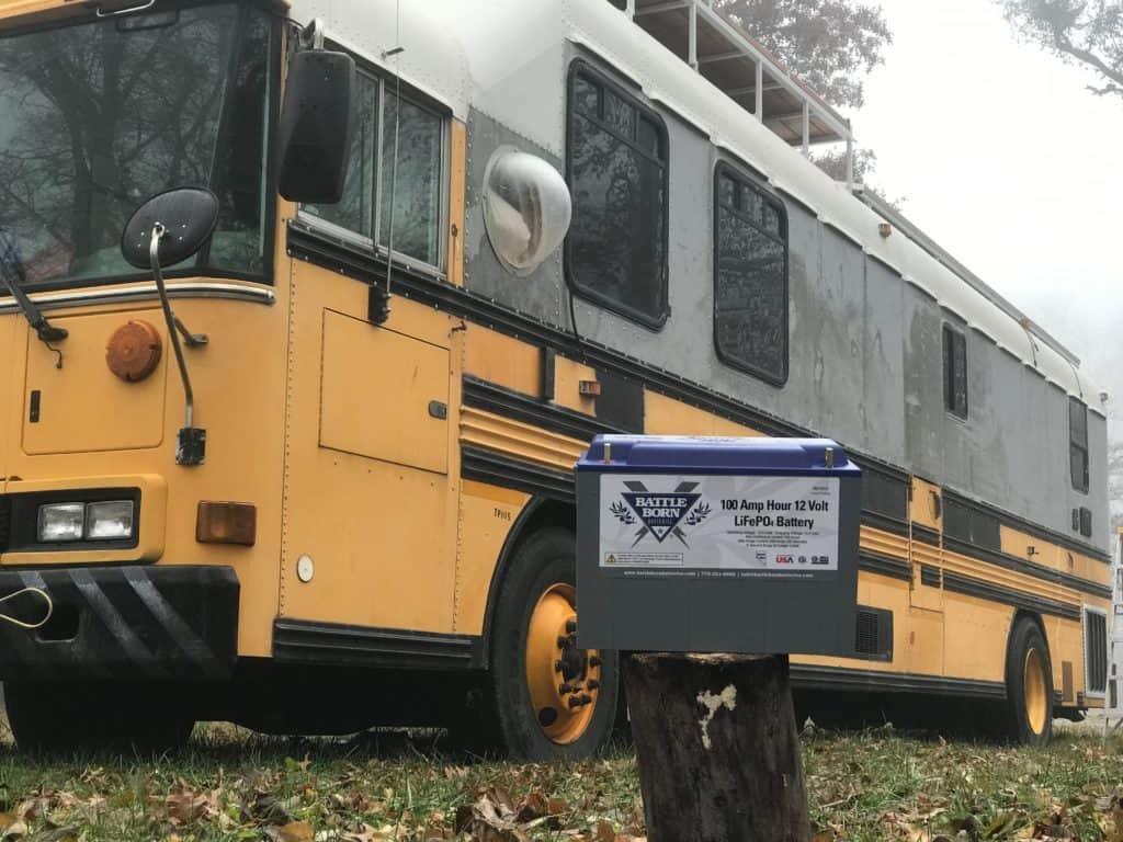 An image of a Battle Born battery outside of Chris Penn's school bus.