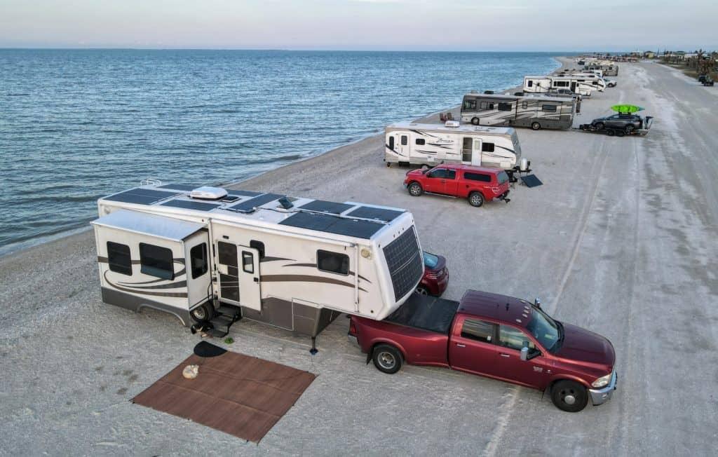 RV solar panels at beach
